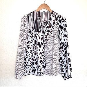 CAbi mixed print long sleeve wrap top size Small
